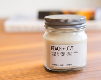 Peach Soy Candle, Scented Candle, Housewarming Gift, Soy Candle, Vegan Candle, Gift for Mom, Hand Poured Candle, Gift for Her