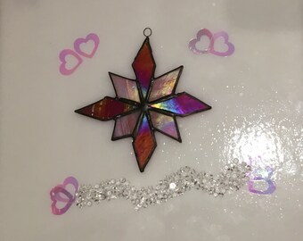 Stained Glass Star Ornament - Iridised Glass