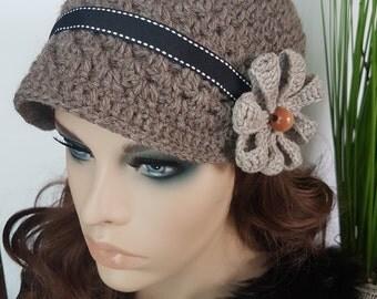 Crochet Woman Hat, Newsboy, Wool, Flower, Ribbon, Warm, Teens, Winter, Ski Hat