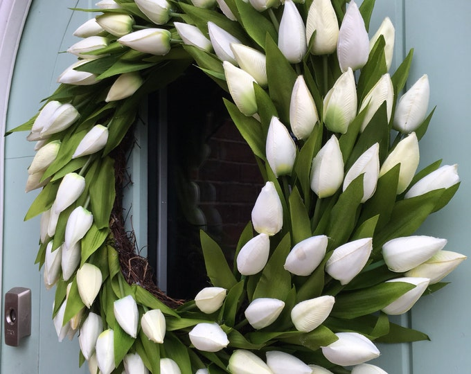 Ivory tulip door wreath