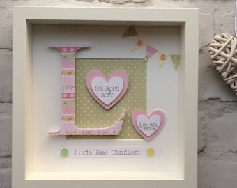 Personalised baby girl gift - new baby gift - christening gift - toddler gift - personalised paper art - nursery wall art - girl room - pink