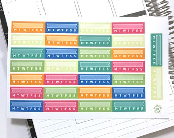 Multicolor Functional Habit Tracker Planner Stickers