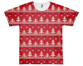 """Christmas Tree Knit - Men's/Unisex T-Shirt - All-Over Print, Sublimation, """"Ugly Christmas Sweater""""-style"""