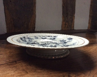 An Antique Victorian Mortlock Transfer Decorated Footed Plate/Tazza/Cake Stand