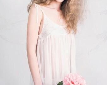 Cream Chiffon nightwear/Sleepwear Chiffon & lace