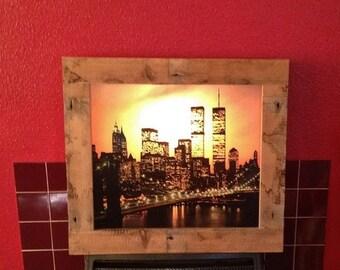 "Rustic Style Light Box   ""Sunset Over Manhattan"""