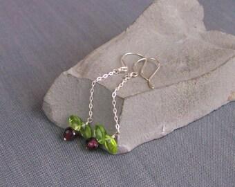 Sterling Silver Earrings with garnet - Cherries