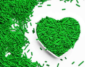 Bright Green Crunchy Jimmies™, crunchy sprinkles, skinny sprinkles, sugar strands, Fancy Sprinkles, green sprinkles, green jimmies
