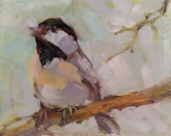 4 x 4 Chicadee Painting, Chickadee original Oil Painting, perched Chickadee Painting, Chickadee Painting, Brande Arno Painting, Birdloverart
