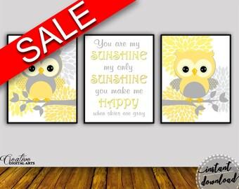 Wall Art Sunshine Digital Print Owl Poster Art Sunshine Wall Art Print Owl Nursery Art Owl Nursery Print Sunshine Wall Decor Sunshine