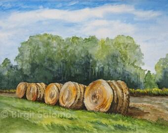 Hay, Hay bale, fine-print 20x30 cm, poster 30x40 cm, fine-print 29, 7x42 cm, original watercolor 36x48 cm