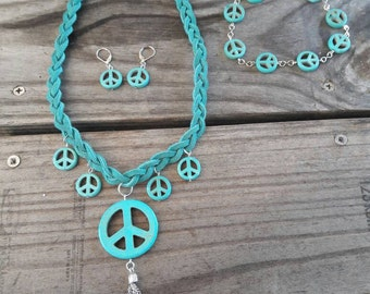 Torquise Peace!  Peace sign jewelry set!