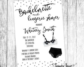 Lingerie Shower Invite, Bachelorette Shower Invitation, Customized Shower Invitation, Customized Invitation, Bachelorette Invitation