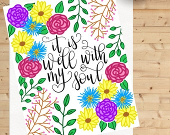 It Is Well With My Soul Hand Lettered Art Print, Home Decor, Wall Art, Hymn Art
