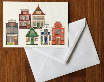 Dutch houses-greeting card illustration by Anke van Horne-blank rear-includes envelope