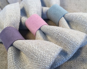 LINEN BOW TIE - Linen and faux suede bow tie, linen and pastel pink bow tie, linen and pastel blue bow tie, linen and lilac bow tie.