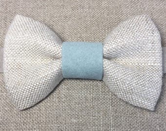 Child's linen and baby blue bow tie, boy's linen bow tie, linen and faux suede bow tie.