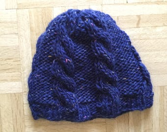 Beautiful Blue Hand-Knit Cable Pattern Adult Hat