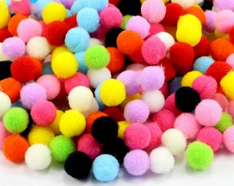 1000pcs/lot 8mm Crafts Round Shaped Pompom Mixed Color Soft Fluffy Pom Pom for kids