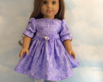 "Sparkling purple dress for 18"" dolls"
