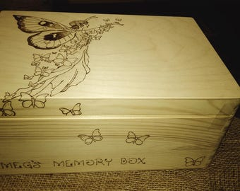 Large memory keepsake wood box gorgeous magical fairy wishes and dreams