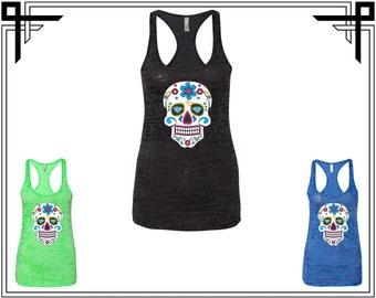 Diamond Sugar Skull Women's Burnout Racerback Tank Calavera Day Of The Dead Skull  Sugar Skull Gym Tank Gift For Her