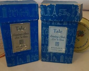 """Antique talc  powder box """"Evening in Paris"""" unopened vintage cosmetics"""