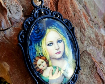 Lolita Gothic necklace, black frills, litte girl print, black, white, grey, oval