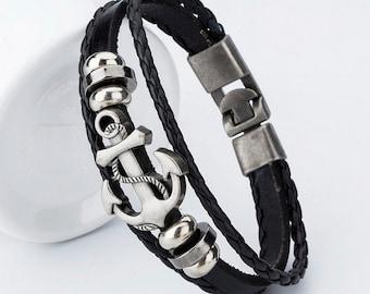 Black braided leather bracelet, Cute womens charm bracelet, Black bracelet, Anchor charm bracelet, Cheap jewelry, Nice cute bracelet