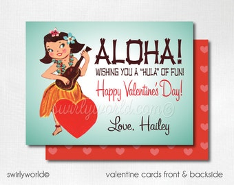 Vintage Hula Girl Valentine Cards, Digital Printable 1950s Hula Girl Valentine Card, Digital Valentine Cards, Retro Girls Valentine DIVAL86