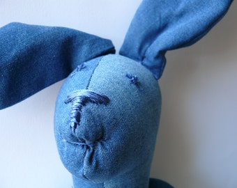 Denim Rabbit art cloth doll - handmade embroidered OOAK