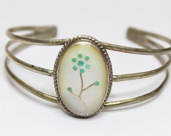 Vintage 1940's Mother of Pearl Cuff Bracelet with Tree Design Inlay