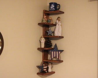 Set of 2,  6 tier corner wood wall corner shelf with alternating shelves