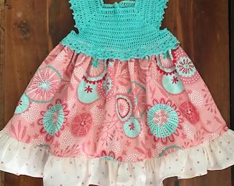 Pink and teal crotchet top dress size 6-12 mos