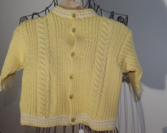 Beautiful yellow baby Cardigan in Merino Wool
