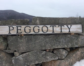 Peggotty sign, rustic, vintage appearance