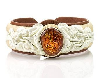 leather bracelet , Amber,  natural stone ,
