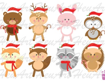 NEW Cute Woodlands Animals Clipart - Cute Woodland Christmas, Cute Woodland Printables, Cute Holiday Woodland Stickers, Fox Stickers,Hedehog