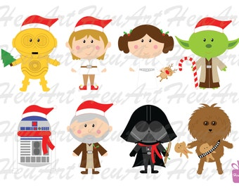 NEW Star Wars Christmas Clipart Set - Cute Star Wars Clipart, Star Wars Christmas, Star Wars Christmas Printables, Star Wars Stickers
