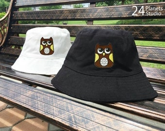 Buy 2 Get 1 Free Owl Embroidered Bucket Hat by 24PlanetsStudio