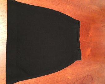 Black Wool Stretchy Pencil Skirt (S/M)
