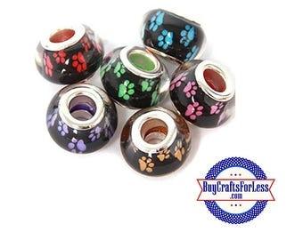 PAW Print Beads, Cat, Dog PAW Print, 4, 8, 12, 24 pcs asst'd colors +FREE Shipping & Discounts*