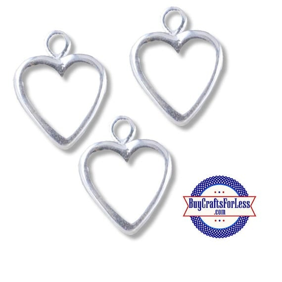 Open Simple Heart Charms, 12 pcs  **99cent shipping-FREE with orders 10 dollars+**