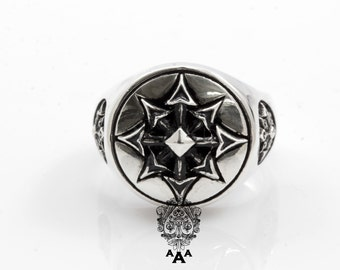 Symbol of Chaos ring,Chaos star ring,Sterling Silver Chaos Ring,Sterling Silver 925 Black oxidize.