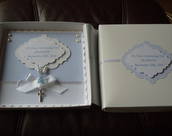 Handmade Personalised Boxed  Baby Boy's Christening Card