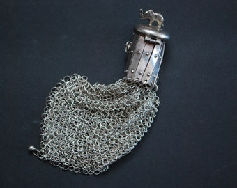 Silver Coin Purse, Sterling Vintage, Antique Portugal Handmade, Compact Ladies.