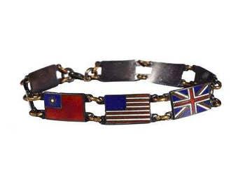 Sterling Silver WWII Allies Charm Bracelet