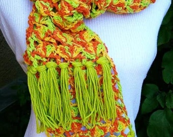 New yellow green scarf  crochet