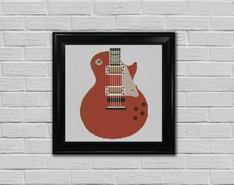 Guitar Cross Stitch pattern - Downloadable PDF