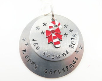 Hand stamped family name christmas ornament----Sample - will custom make -